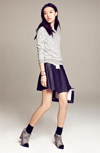Astr faux leather skater skirt