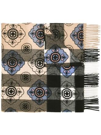 women scarf floral silver pattern