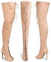 shoes,heels,boots,open toes,high knee boots,knee high boots,peach