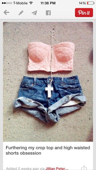 pink roses top bustier High waisted shorts denim shorts
