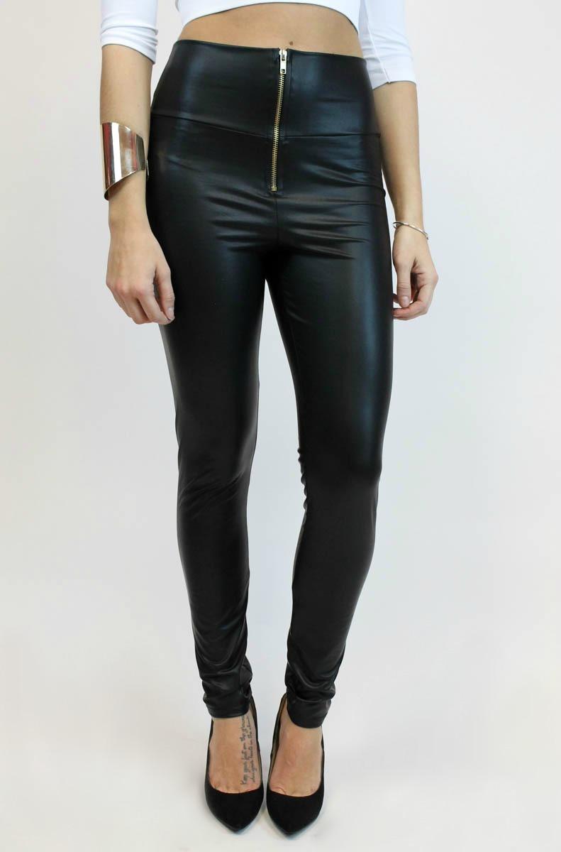 Leather high waist legging