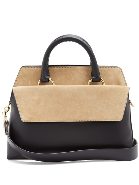 Diane Von Furstenberg satchel bag suede bag leather suede black beige