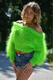 sweater,green,wool,crop,off the shoulder,mohair
