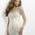 SPARKLY NUDE AURORA BOREALIS CRYSTAL MINI KNEE FLOOR LENGTH DRESS