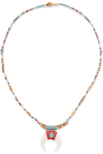 beaded necklace gold white jewels