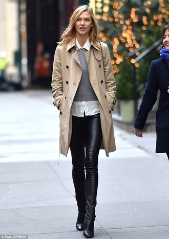 karlie kloss model streetstyle casual classy burberry trench coat leather pants pants