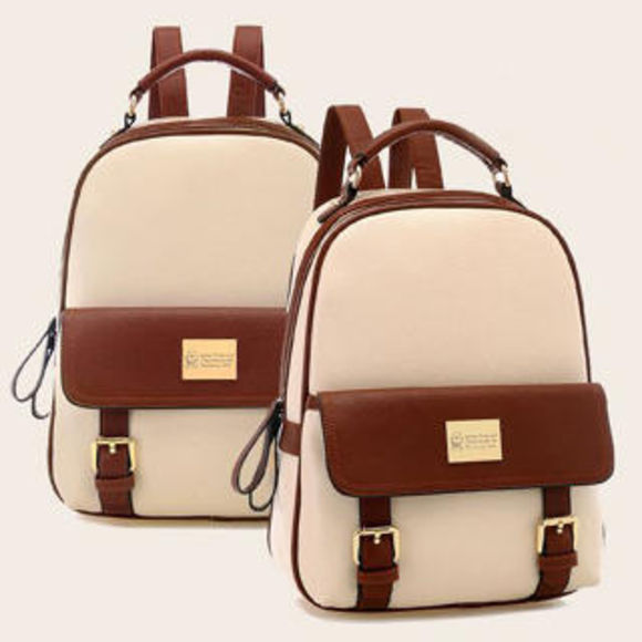 bag leather bag brown backpack brown bag two tone bag luxury fashion