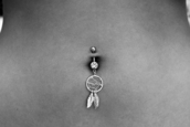 jewels,belly piercing,belly button ring,silver,dreamcatcher,dreamcatcher belly piercing