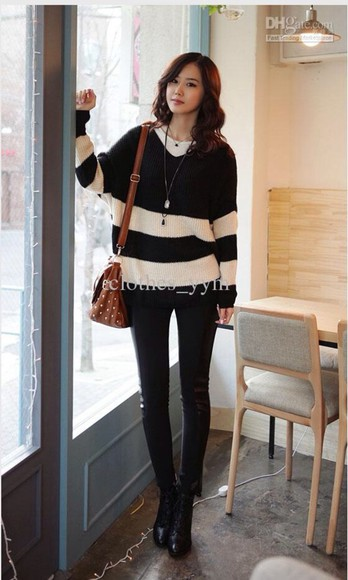 stripes sweater black white black sweater