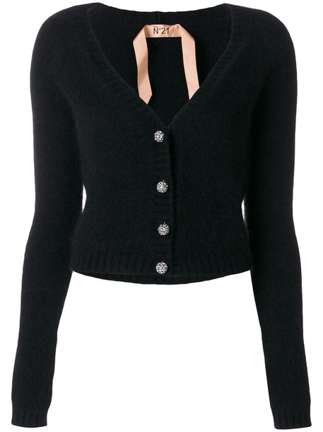 No21 - crystal button cardigan - women - Polyamide/Angora/Wool - 40, Black, Polyamide/Angora/Wool