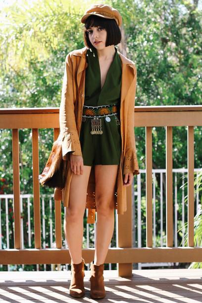 restless youth blogger romper belt olive green fisherman cap camel