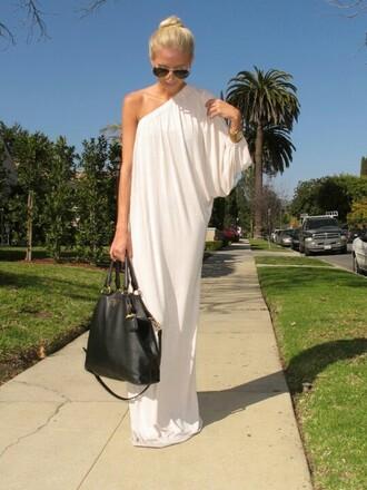 one shoulder dress maxi dress white dress
