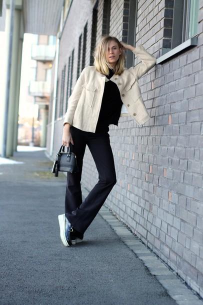 the fashion eaters blogger jacket wide-leg pants mini bag bag pants shoes