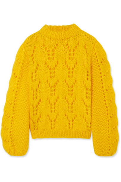 Ganni sweater mohair wool yellow
