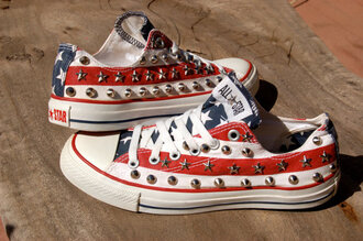 shoes converse red white blue american flag studs all star chuck taylor all stars clothes