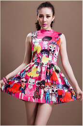 dress,bqueen,fashion,girl,cute,lovely,cats,colorful,chic,print,stand collar,flounced,ustrendy