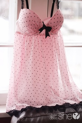 dress lingerie pink black cute sexy polka dots pastel pink and black dress