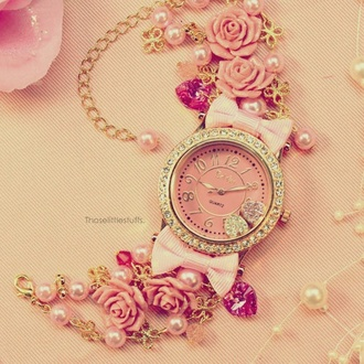 pink pearl pink roses pink watch gold chain jewels watch pink pretty cute sweet roses big bows flowers pearl gold