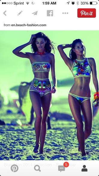 swimwear blue man bright neon high waisted bikini patterns tropical colorful swimsuits see through swimwear
