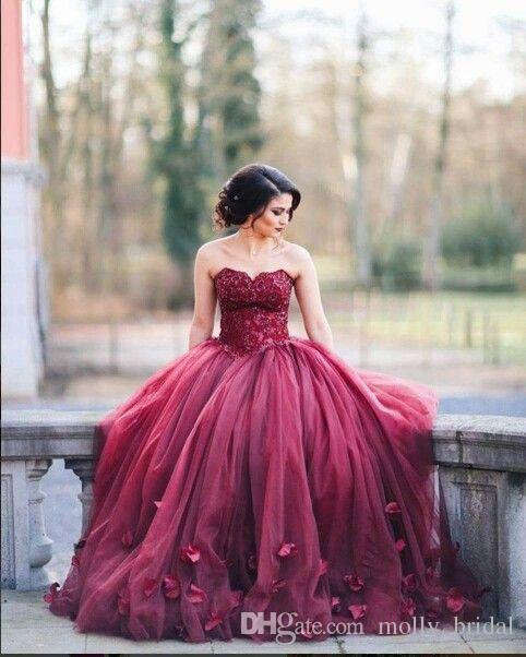 42da4f2d6a8 2017 Charming Burgundy Ball Gown Prom Dresses Applique Beaded Hand Made  Flower Strapless Sexy Backless Bandage Fashion Party Dress Cheap Plus Size  ...
