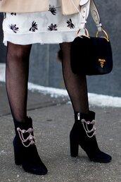 shoes,nyfw 2017,fashion week 2017,fashion week,streetstyle,ankle boots,blue boots,embellished,high heels boots,velvet ankle boots,velvet,velvet shoes,velvet boots,tights,net tights,fishnet tights,bag,black bag,designer bag,prada,prada bag