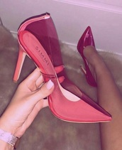 shoes,plastic,high heels,pink high heels,pink,simmi,summer,summer outfits,spring outfits,spring,pointed toe pumps