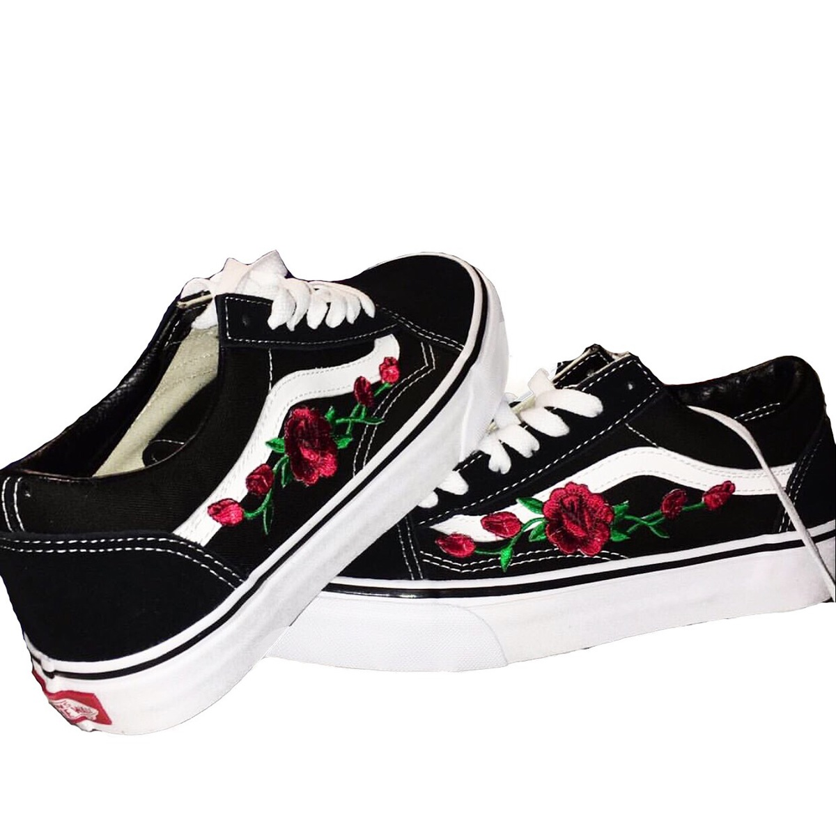 old skool vans roses. Black Bedroom Furniture Sets. Home Design Ideas
