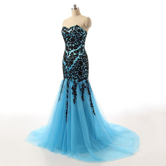 dress prom prom dress blue floral fashion style girly long mermaid mermaid prom dress gown long dress maxi maxi dress blue dress black dress sexy trendy cute wow