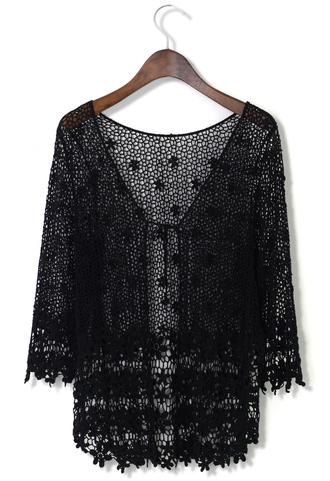 blouse delicate hollowed crochet open cardigan blac