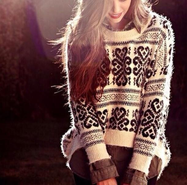 blouse white oversized sweater holiday season aztec sweater comfy fashion style