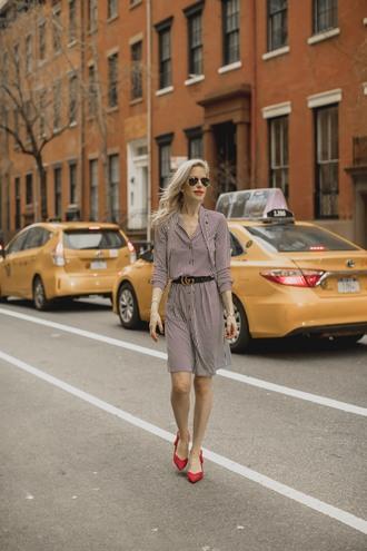 yael steren blogger dress belt shoes jewels make-up pumps red heels