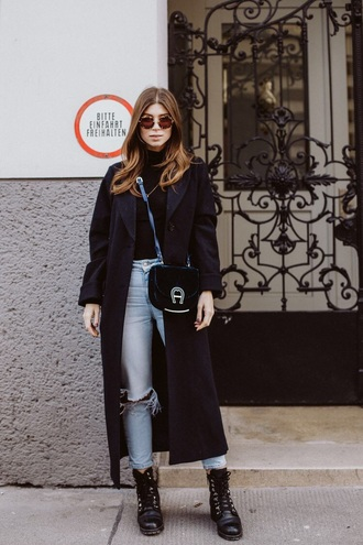 jeans black coat long coat black boots denim blue jeans ripped jeans coat boots ankle boots top turtleneck