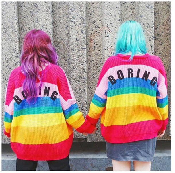 sweater girly jumper rainbow colorful tumblr