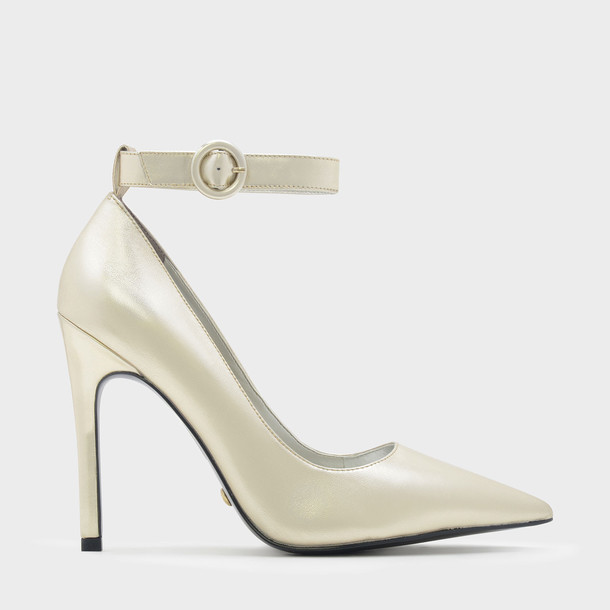 ankle strap pumps leather gold shoes