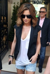 jacket,vest,black,shorts,glasses,denim