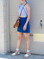 skirt,denim skirt,twill skirt,crop tops,espadrilles,scalloped skirt,blogger,blogger style,crossbody bag