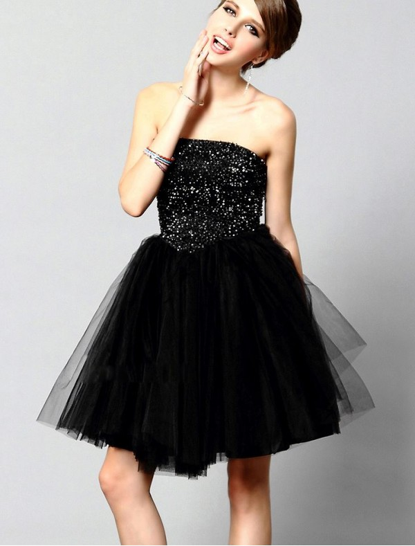 Tulle Strapless A-Line Cocktail Dress with Beaded Bodice  - Special Occasion - RainingBlossoms