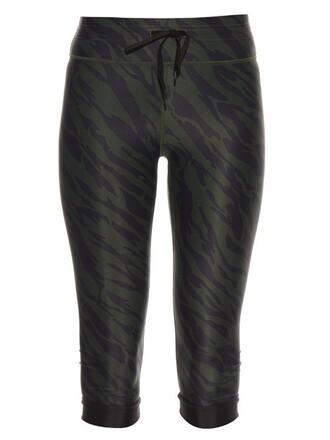 leggings cropped print green pants