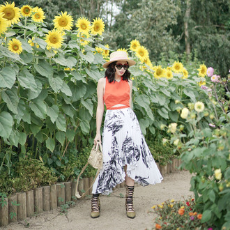 olivia lazuardy blogger hat sunglasses bag shoes red top midi skirt summer outfits spring outfits