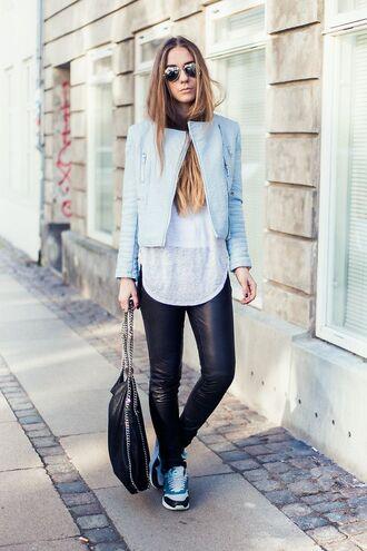 shoes blue blazer leather pants nike sneakers blogger sunglasses