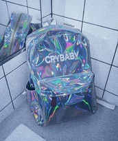 bag,tumblr,holographic,holographic bag,backpack,crybaby