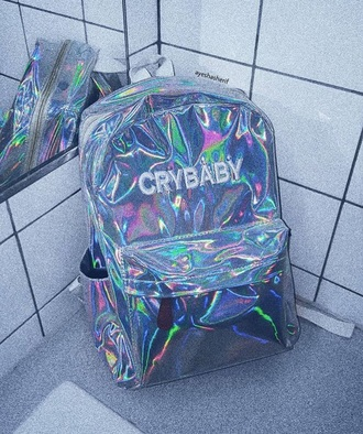 bag tumblr holographic holographic bag backpack crybaby