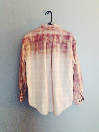shirt flannel shirt flannel ombre bleach dye red blouse tumblr flashes of style fashion tumblr outfit tumblr girl tumblr clothes tumblr shirt oversized oversized t-shirt hipster hippie boho boho chic boho shirt oragne orange white