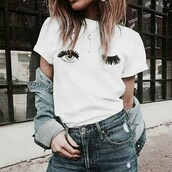 top,t-shirt,lashes,wink,eyes,eye,white