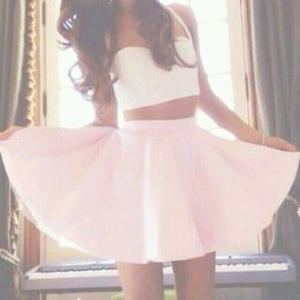 tank top white crop tops celebrity cute ariana grande celebrity style instagram skirt kenley collins dress white dress girly ootd top shirt