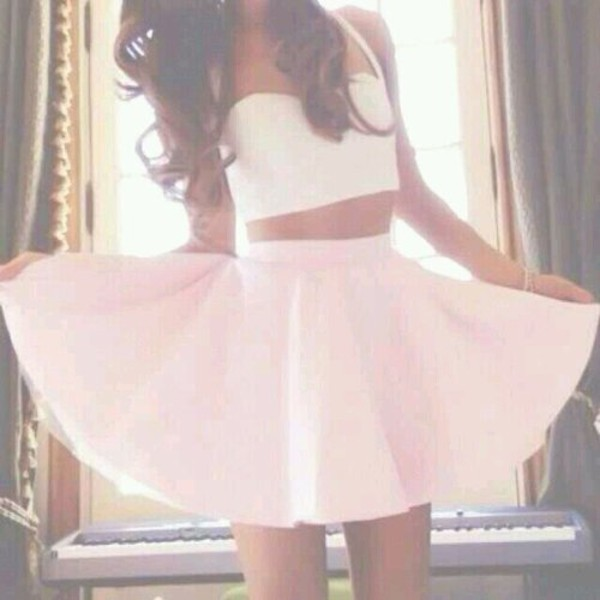 tank top white crop tops celebrity celebrity cute ariana grande ariana grande celebrity style instagram instagram skirt kenley collins white dress girly ootd