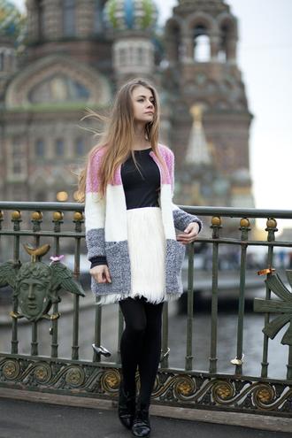 acid coke blogger cardigan white skirt