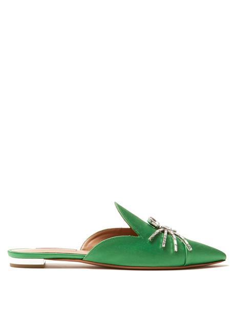 backless embellished flats satin green shoes