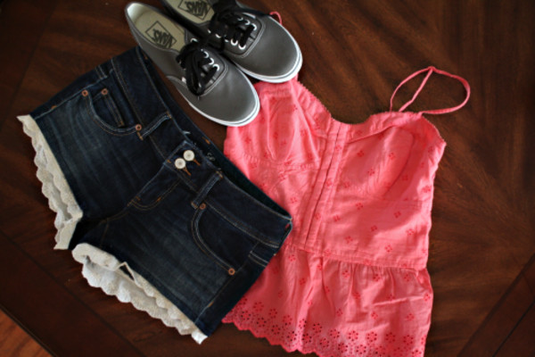 shoes vans top pink shorts lace tank top blouse peach