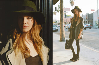 shoes model off-duty basics winter outfits outerwear black boots satchel scarves jacket hat tank top